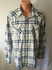 EUC AMERICAN EAGLES OUTFITTERS MENS VTG FIT SZ  XXL/TTG  L/S WESTERN SHIRT BL WH