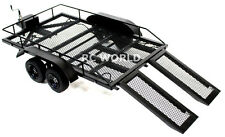 RC Scale Accessories All METAL DUAL AXLE TRAILER W/ Leaf Suspension 1/10 Scale