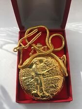 Antique Analogue Full Hunter Fisherman  Pocketwatch goldplated case easy to read