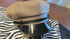 VINTAGE STYLE BIKER ROAD CAPTAIN'S HAT - KHAKI - PLAIN HAT - NO PATCH !!