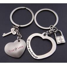 2pcs/Set Fashion Love Heart Key Ring Keyfob Couples Romantic Keychain Gift