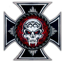 HUGE IRON CROSS SAVAGE SKULL TATTOO BIKER JACKET RIDER VEST EMBROIDERED PATCH XL