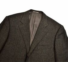 Corneliani Wool Cashmere Mohair Herringbone Jacket 44R Large Blazer Brown Grey
