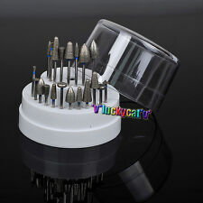 20*Dental Lab Assorted Diamond Burs Drill+1*Dental Plastic Holder Block 60 Holes