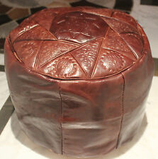 BROWN GENUINE LEATHER MOROCCAN POUF POUFFE HANDMADE OTTOMAN FOOTSTOOL