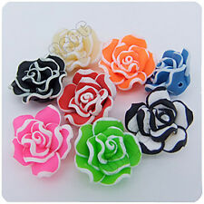 15pcs Mixed Fimo Polyme Clay Rose Flowers Charms Beads 20mm Jewerly Findings R49