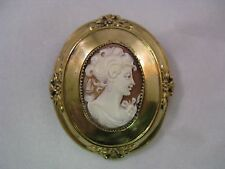Antique rolled gold shell cameo brooch pin Victorian