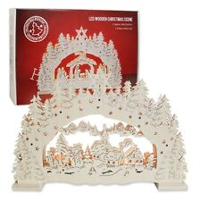 WOODEN CRAFTED LED LIGHT UP FESTIVE SCENE DECOR CHRISTMAS BATTERY OPERATED 8037