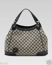 NWT Gucci Brick Lane Original GG Canvas Tote Shoulder Bag with Blue Leather