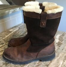 Bass Womens Artic Mid Calf  Warm Fleece Lined Brown Leather & Suede Boots 8 M