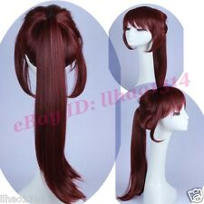 High Ponytail Wig Wine Red Straight Costume Cos Wig Sweet Women's Lovely HOT NEW
