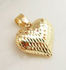 Womens Girls 10k Yellow Gold Heart Charm Diamond Cut Heart Pendant