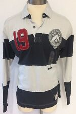 NAUTICA RUGBY SHIRT PULLOVER MENS SIZE MED BLUE GREY & Patches UNIQUE