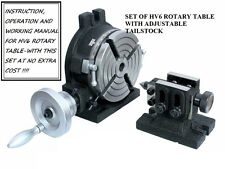 New HV6 Rotary Table,& a Adjustable Tailstock Set+ Free Manual- Milling Indexing
