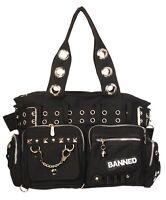 BANNED SHOULDER BAG Handcuff Sturdy Canvas Handbag Gothic Emo Rockabilly Black