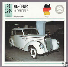 1951-1955 Mercedes 220 Cabriolet B (Benz) Car Photo French Card 1952 1953 1954