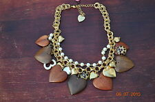 Betsey Johnson Vintage WOODEN HEART NECKLACE ~ NEW WITH TAGS