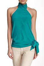 NEW Haute Hippie Halter-Neck Open-Back Silk Blouse Turquoise Blouse sz M $245