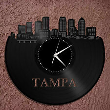 Tampa Skyline Vinyl Wall Clock, Cityscape Clock, Unique Large Wall Clock