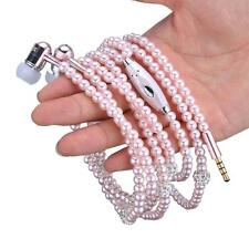 Pearl Necklace 3.5mm High Quality Stereo Earphone Universal Headphones in-ear GL