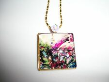 JEWELRY NECKLACE PENDANT 25x25mm CAMEO CABOCHON TREES & ENGLISH COTTAGE OOAK