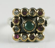 Art Deco .54ctw Emerald, Ruby & White Sapphire Rose Gold/925 Ring 6.9g - Sz 7.5