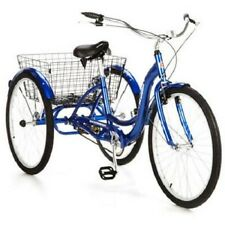 """Blue 26"""" Wheel Adult Tricycle w/ Basket Outdoor Riding Cycling Single Speed"""