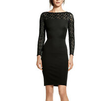 Roland Mouret Banana Republic Black Leopard Long Sleeve LBD Cocktail Dress 2 XS