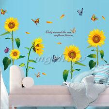 Beautiful Sunflower Butterfly Flying Wallpaper Home Decor DIY Wall Sticker Art