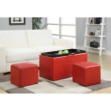 Leather Top Coffee Table Storage Ottoman Bench Upholstered Seat Chair Tray Red