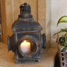 Antique French Vintage Railway Lantern Candle Holder Rustic Garden IndoorOutdoor