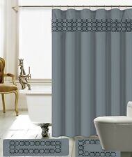 15 Piece Charlton Embroidery Banded Shower Curtain Bath Set 100% Polyester. Gray