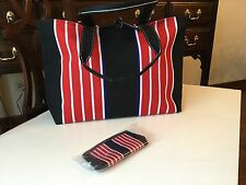 New Red, White, Blue, Black Canvas Striped Tote Handbag With Matching Coin Purse