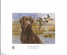 ILLINOIS #29 2003 STATE DUCK STAMP PRINT CHOCOLATE LAB,  GW  TEAL  by Jim Killen
