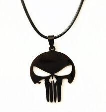 Men's Black Stainless Steel Punisher Skull Superhero Pendant Necklace