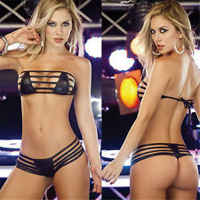 Vinyl Lingerie Underwear Bandage PU Faux leather Mini Micro Bikini 8-10