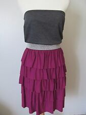 ING + Pink/Silver/Black Colorblock Ruffled Tiered Strapless Dress NWT SZ: 1X