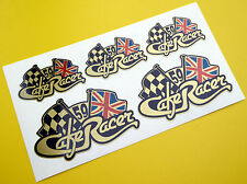 CAFE RACER Chequered Flag UNION JACK logo tank & Helmet set stickers decals GOLD
