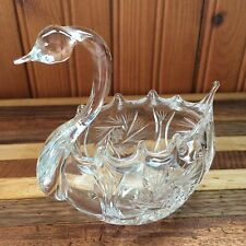 Vintage Cut Glass Swan Figurine Bowl Pinwheel Hobstar