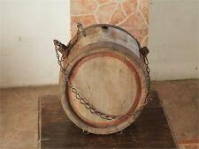 ANTIQUE AUTHENTIC PRIMITIVE CWE HANDMADE CANTEEN FLASK KEG IRON BANDED.