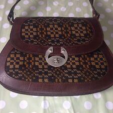 Tapisserie art déco rétro vintage en cuir marron grab sac à main femme/femme rare