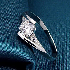 Women's Silver Plated Cubic Zirconia Engagement Wedding Ring Size 4 (USA Seller)