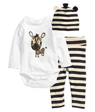 3pcs Boy Girl Baby Newborn Cartoon Hat+Romper+Pants Bodysuit Clothing Sets 0-6M