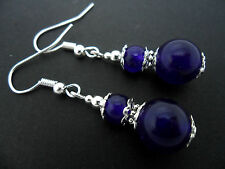A PAIR OF PURPLE JADE  SILVER  PLATED DROP DANGLY EARRINGS. NEW.