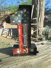 #1 USA LIGHTED UP RED WHITE BLUE DISPLAY Harley Davidson Motorcycle Rat Rod one