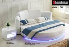"LED Light platform Round Bed W/ 10"" Memory Foam mattress CY001LE"