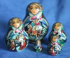 Prettiest! Vintage Russian Christmas Santa Martyoshka Wooden Nesting Doll 5 Box