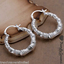 Vintage Hippie Style Women's 925 Sterling Silver Filled Hoop Earrings #10