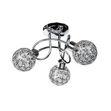 Modern 3 Way Flush Chrome Ceiling Light fitting Jewelled Metal Ball Shades