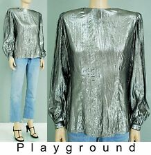 Vintage silver Lamé long sleeved glam rock high fashion shirt top blouse